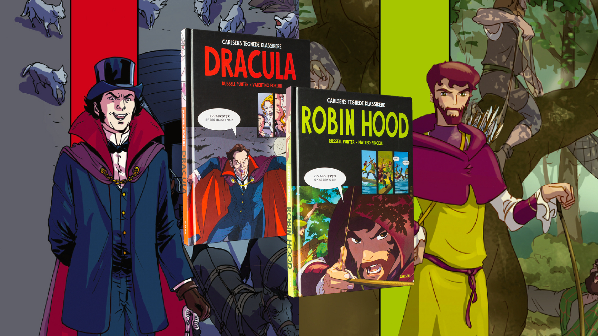 carlsens tegnede klassikere, tegneserie, tegneserier, dracula, robin hood