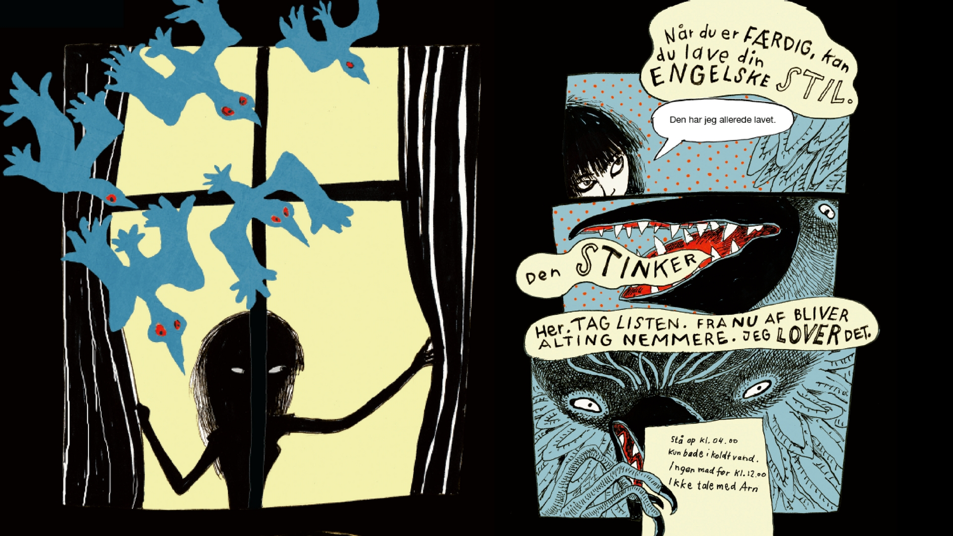 Fuglemanden, Sarah engell, psykisk sygdom, ungdomslitteratur, lilian brøgger, psykisk sygdom, graphic novelle, grafisk roman, ungdomsbog