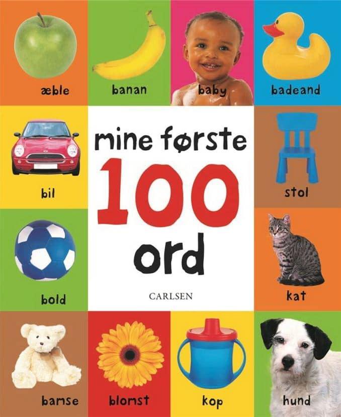 Mine første 100 ord, første ord, børnebog, børnebøger, babybog, babybøger, bøger til baby