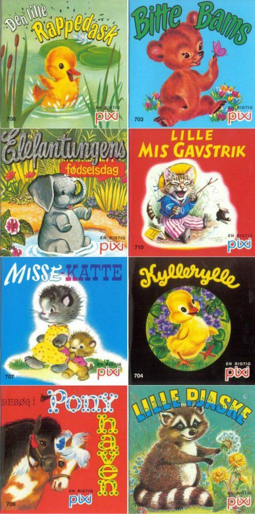Pixi, pixibøger, missekatte, bitte dams, den lille rappedask, kyllerylle, lille pjaske, ponyhaven, lille mis gavstrik