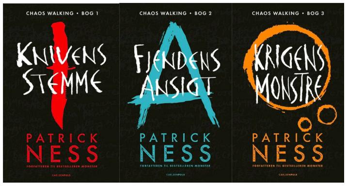 Dystopiske bøger: Chaos Walking-trilogien af Patrick Ness, Knivens stemme, Fjendens ansigt, Krigens monstre