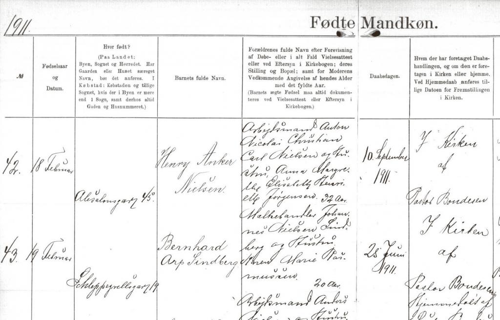 Uddrag af kirkebogen for Sankt Pauls sogn med angivelse af Bernhard Sindbergs fødsel. SINDBERG