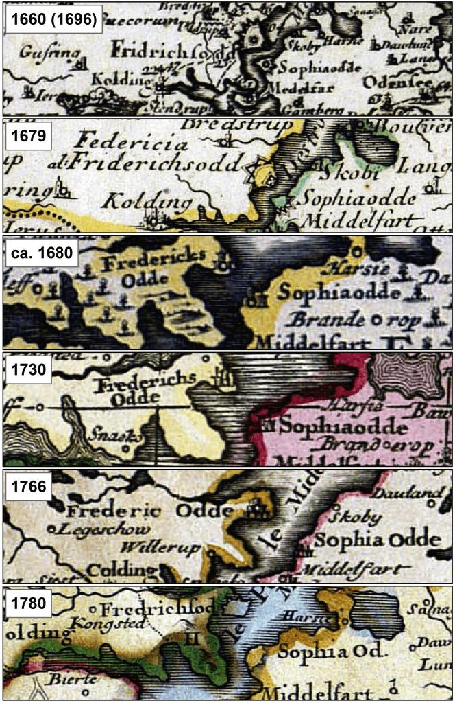 Sofieodde blev ved med at være på kortene fra 1600-tallet til næsten 1800-tallet