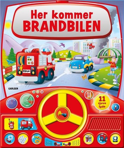 Her kommer brandbilen - med lyd og rat, papbøger med lyd