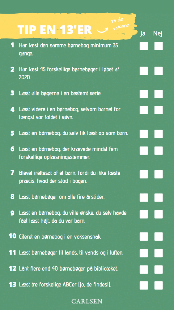 Tip en 13er! Sjove læseudfordringer for forældre og børn