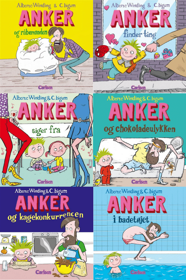 Anker-serien, Anker og råbemanden, Anker finder ting, Anker siger fra, Anker og chokoladeulykken, anker og kagekonkurrencen, anker i badetøjet, Alberte Winding, Claus Bigum