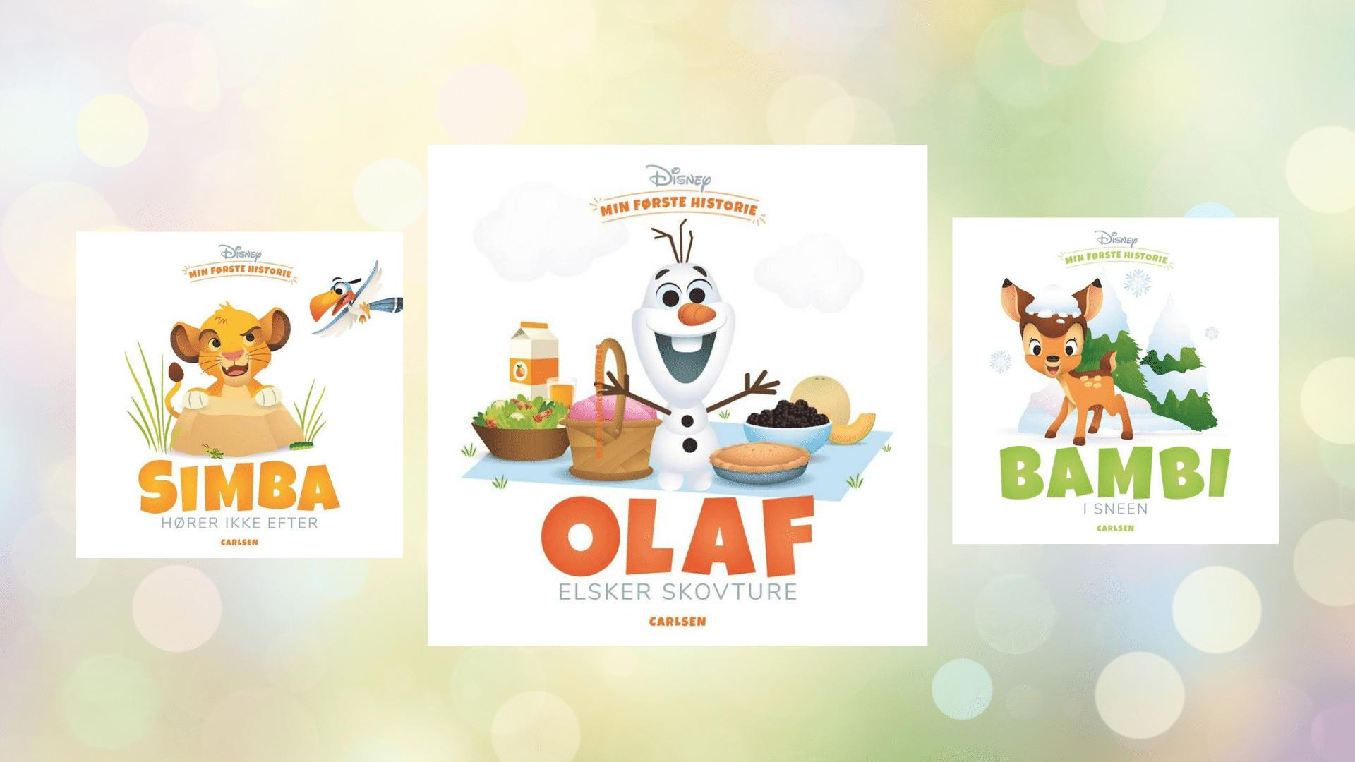 min første historie, Bambi, frost, olaf, simba, løvernes konge, bøger for de små, bøger for de mindste, bøger til baby, højtlæsning