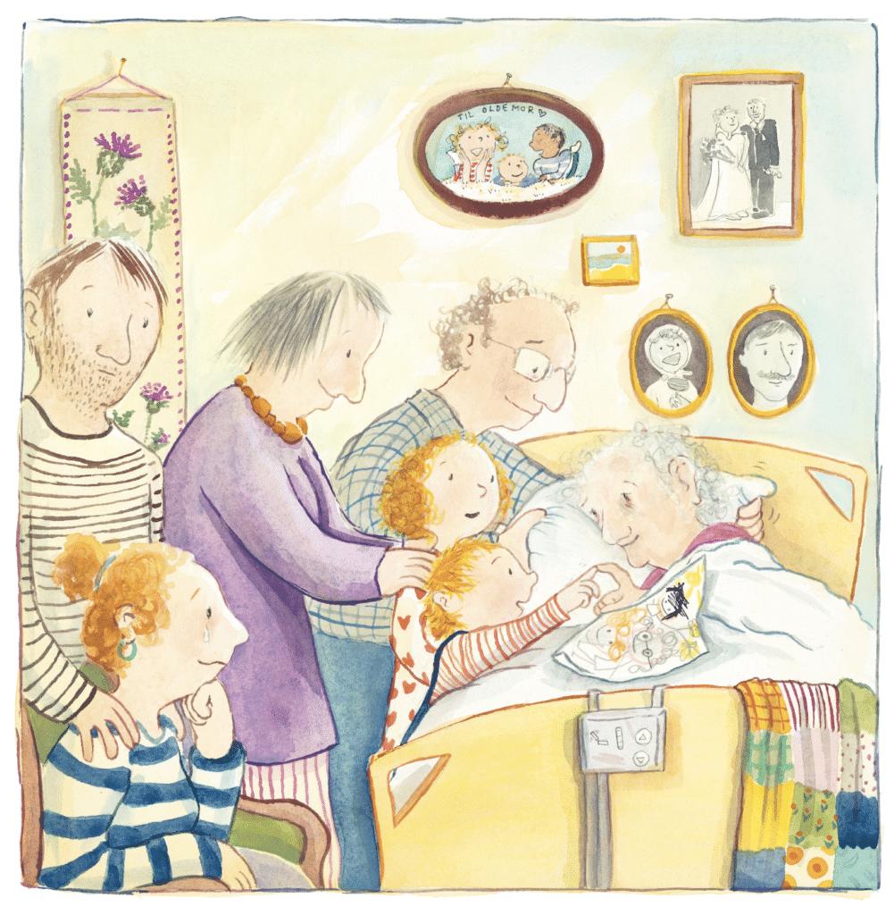 Farvel, Olde, Ina Victoria Haller, børnebog om døden, My og familien, oldemor, plejehjem