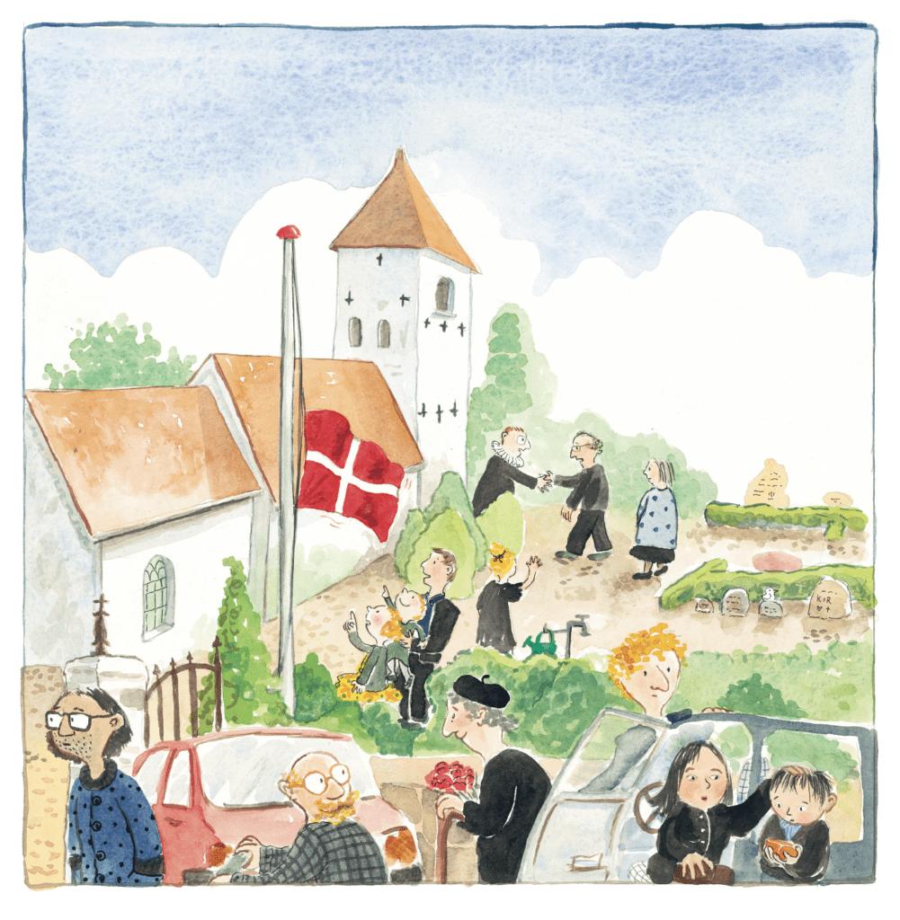Farvel, Olde, Ina Victoria Haller, børnebog om døden, begravelse, flag på halvt